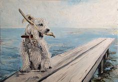 Rozczochrany pies, patyk i morze Jeden z trzech obrazów w cyklu BLUE Format 50x70