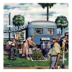 """Giclee Print: """"Trailer Park Garden"""" Saturday Evening Post Cover, February 1952 by Stevan Dohanos : Mary Cassatt, Old Magazines, Vintage Magazines, Vincent Van Gogh, Retro Campers, Vintage Campers, Vintage Motorhome, Vintage Caravans, Happy Campers"""
