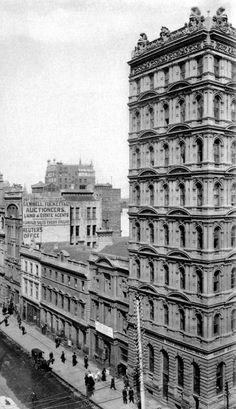 Collins Street south side, looking East from Queen Street, late Century, with Prell Building 1 (built remodelled demolished at far R. Vintage Architecture, Australian Architecture, Historical Architecture, Old Pictures, Old Photos, Australian Continent, Famous Buildings, Melbourne Victoria, Largest Countries