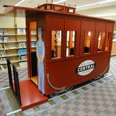 Train caboose theme  childrens area beech grove public library design fabrication install educational environment