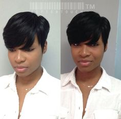 I think I'll try. Think I'm going to try it. Short Haircut Styles, Short Hairstyles For Women, Weave Hairstyles, Girl Hairstyles, Short Styles, Short Sassy Hair, Short Hair Cuts, Pixie Cuts, Curly Hair Styles