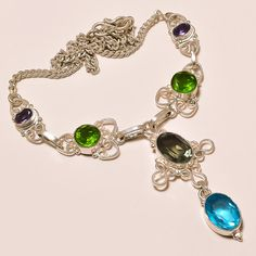 Beautiful 22gm 925 Sterling Silver Gemstone Blue Topaz Emerald Amethyst Necklace #AbhigyaArtjewelry