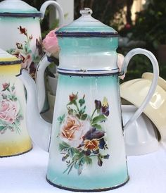 Antique French Rose & Pansy Floral Enamelware Biggin Coffee Pot