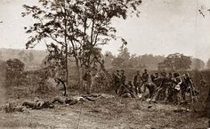 Antietam, Maryland. Burying the dead Confederate soldiers