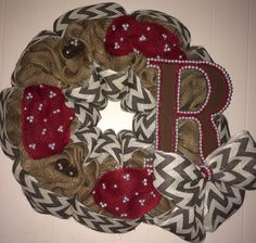 Burlap and Chevron Wreath with burgundy accents and initial!