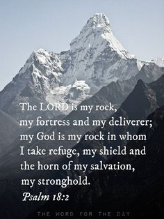 """""""The LORD is my rock, my fortress and my deliverer; my God is my rock, in whom I take refuge, my shield and the horn of my salvation, my stronghold.""""  Psalm 18:2"""
