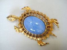 TURTLE Blue glass cabochon brooch pin Linde Star by RMSjewels, $24.00