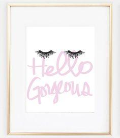Hello Gorgeous Glam Prints | Office Decor, Bedroom Decor