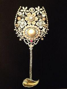 Framed Vintage Jewelry Wine Glass 16x16 by KajaVintageCreations