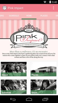 If you are attending Pink Impact, or are looking for information about the conference, this app is a must have! <p>• Speakers – You can get information on all of our dynamic speakers. Take a look and we think you'll agree that you won't want to miss a single minute. <br>• Schedule – Stay up-to-date and know where to go for each session. <br>• Places – Need a place to eat? Shop? Have fun? We've got you covered. Find locations and directions to meet all of your needs.<br>• Media – You can…