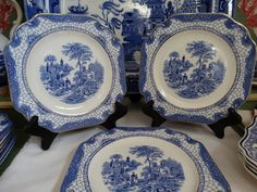 """Set of 5 Adams """"Landscape"""" Square 7 3/4 inch Plates in Blue Transferware. Made…"""