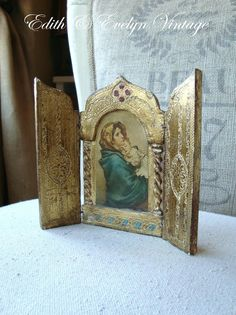 Vintage Italian Florentine Religious Triptych Virgin Mary Madonna and Child Catholic Gifts, Catholic Art, Religious Icons, Religious Art, Vintage Italian, Vintage Art, The Good Catholic, Arte Popular, Old Art