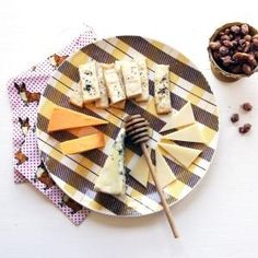 The Perfect Cheese Plate. Happy Honey: Gorgonzola, Aged Cheddar, Gruyère, NYC Nut Stand Cinnamon and Sugar Peanuts, Honey, Crackers by jill