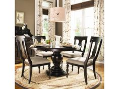 Paula Deen Home 5 Piece Round Pedestal Dining Table Set - Tobacco - with Paula Chairs - The Paula Deen Home 5 pc. Round Pedestal Dining Table Set - Tobacco - with Paula Chairs makes an elegant spot for afternoon tea or a brunch with the. Round Dining Room Sets, Round Pedestal Dining Table, Dining Table Design, Dining Table In Kitchen, Extendable Dining Table, Dining Tables, Kitchen Chairs, Esstisch Design, Dining Room Furniture