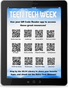 QR Codes linking to apps, resources, instructions, and our Twitter page. South East Junior High School Library, Iowa City, Iowa. Teen Tech Week 2014.