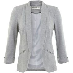 Miss Selfridge Shawl Collar Blazer (1 020 ZAR) ❤ liked on Polyvore featuring outerwear, jackets, blazers, cardigans, coats, grey, grey blazer, miss selfridge, 3/4 sleeve jacket and three quarter sleeve blazer