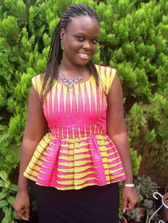 Ankara Peplum Top; African Clothing; Ethnic Clothing; Colorful Peplum Top;African fashion; African Print; - pinned by pin4etsy.com