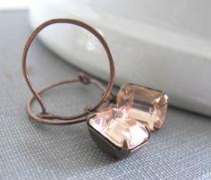 Pink Glass Earrings Copper Earrings Vintage Glass by fiveforty, $20.00