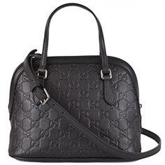 Gucci Women's GG Guccissima Black Leather Convertible Mini Dome Purse. Available at Brandinia.com