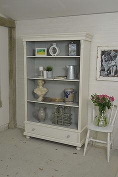 This Dutch Bookcase is a great storage unit, perfect for storing all your wares! We've painted in Valspar Soft Wool - a mellow 'soft white', with F&B Lamp Room Grey inside. https://www.thetreasuretrove.co.uk/cabinets-and-storage/large-white-rustic-shabby-chic-dutch-bookcase #shabbychic #vintagefurniture
