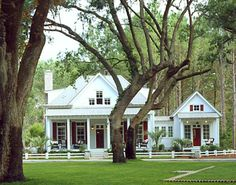 Cottage House Plan with separate master, screened porch and attached guest cottage