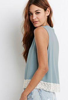 Crochet-Trimmed Muscle Tee | Forever 21 -   This tee would is so easy to make just cut off the sleeves of a plain shirt and sew a strip of lace on the bottom hem and bam!