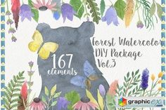 Forest Watercolor DIY  stock images
