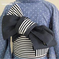 Black/White Polka dot/Striped Obi