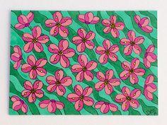Cherry Blossom Flowers ACEO Art Card Design, Japanese Blossom Original Art, Artist Trading Card, Miniature Artwork, Pink Blossom Art by deejavuart on Etsy