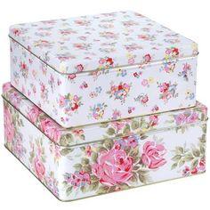 ***** #Box #Storage #Tin #Floral #Vintage