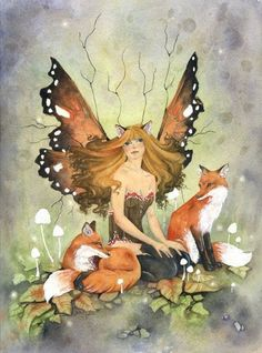 Fairies among their woodland friends ~ the swift, cunning Fox... Lightbeingmessages.com