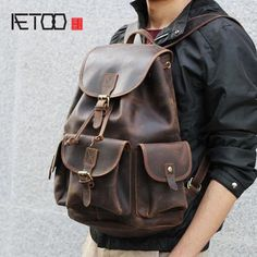AETOO Crazy horse skin large capacity shoulder bag male imports the first  layer of leather handmade backpack female travel bag 52b18e3c5f6e5