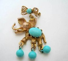 Turquoise Belly Brooch Elephant Figural Pin by VintagObsessions