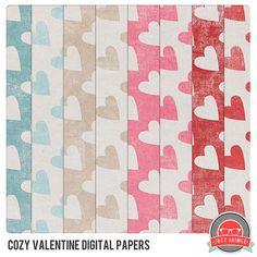 FREE: Cozy Valentine Digital Papers Freebie From Just Jaimee