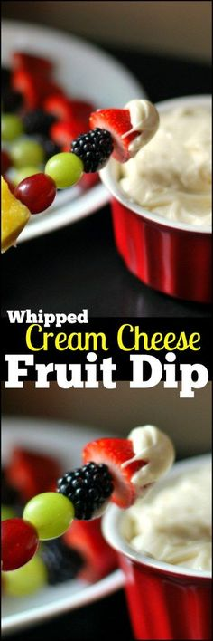 This Whipped Cream Cheese Fruit Dip is the only fruit dip recipe you will ever need! Perfect for a holiday fruit tray or just a yummy after school snack! We CAN NOT get enough of this sweet & creamy dip! (fruit recipes for dinner) Dessert Aux Fruits, Dessert Dips, Köstliche Desserts, Health Desserts, Sweet Desserts, Holiday Appetizers, Appetizer Dips, Appetizer Recipes, Party Appetizers