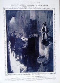 1908 PRINT THE STAR SEEKERS : CHOOSING THE SHOW LADIES DRAWN BY CYRUS CUNEO