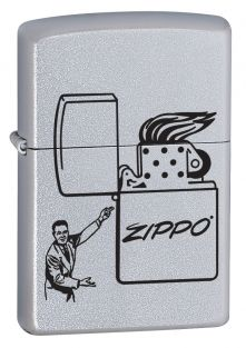 Vintage Man Zippo lighter now available from Zippo UK now only £17.50 Satin Chrome™. Packaged in an environmentally friendly gift box. Lifetime Guarantee.