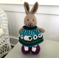 When I first saw the adorable Shetland Wool Week Baa-ble Hat pattern, I thought immediately of a bunny dress and had to try it. The dress was knit with a cast on of 96 stitches and my usual modific...