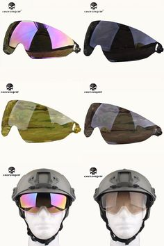 [Visit to Buy] EMERSON Sunscreen Visor Goggle Accessory Replacement Eyeglasses Spare Part For FAST Protector Goggle Military Tactical Helmet #Advertisement