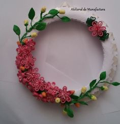 Origami And Quilling, Floral Wreath, Wreaths, Frame, Jewelry, Decor, Decoration, Jewlery, Decorating