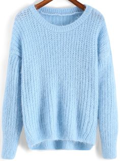 Shop Blue Round Neck Dip Hem Loose Sweater online. SheIn offers Blue Round Neck Dip Hem Loose Sweater & more to fit your fashionable needs.