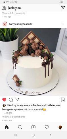 Unique Birthday Cakes, 70th Birthday Cake, Beautiful Birthday Cakes, Happy Birthday Cakes, 30 Cake, 21st Cake, Cute Cakes, Yummy Cakes, Chocolate Explosion Cake
