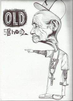 Old School - Penna su cartoncino (Old School - Pen on cardboard)