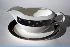 Vintage Discontinued Galaxy Gravy Boat and Underplate in Dark Cobalt Navy Blue and 14 K Gold Hand Painted Stars of the Cosmos