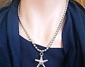 Starfish  Pendant Free Shipping Silver Starling Military Tag Necklace