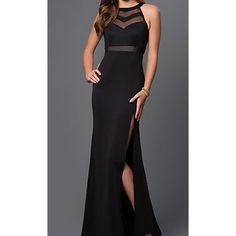 Mesh black prom dress This sophisticated black sheer paneled bodice dress has all of elegance and just the right amount of sexy  you need to feel sexy and confident! With a high neck, the sheer panel design covers the bodice and enhances your feminine curves. And the thigh slit shows off your toned leg for an extra edge to this black sleeveless sheer paneled bodice dress. NEVER BEEN WORN BEFORE! Brand new without tag Rachell Allan  Dresses Maxi