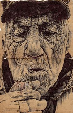 Bic Biro drawing on a 1875 Scottish Army envelope by Mark Powell #art #drawing #pen #penart #ballpointpen #bic