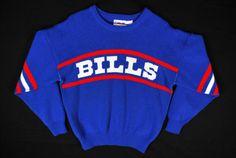VTG 90s Cliff Engle Buffalo Bills Striped Knit Sweater NFL Football  Throwback 07628c498