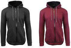 Galaxy By Harvic Mens French Terry Zip Up Hoodies - 2 Pack!