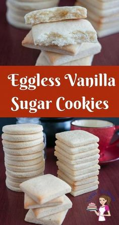 These eggless vanilla sugar cookies are light, airy with shortbread texture that just melt in the mouth. A simple, easy and effortless recipe that will have you bake these cookies in less then thirty minutes weather you baking just for a daily tea time sn Egg Free Sugar Cookie Recipe, Eggless Sugar Cookies, Eggless Cookie Recipes, Homemade Sugar Cookies, Eggless Desserts, Eggless Baking, Sugar Cookie Dough, Köstliche Desserts, Biscuit Recipe